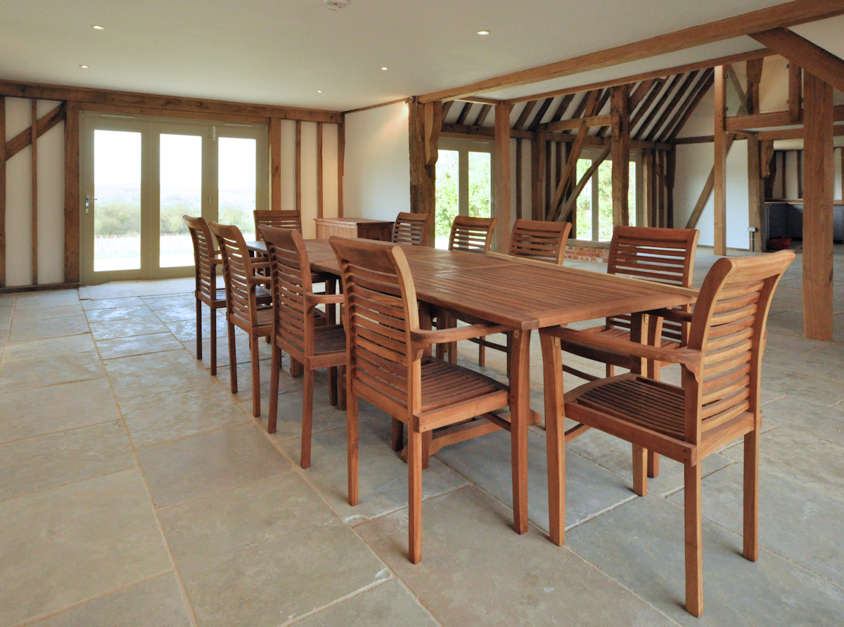 Dining area within a barn conversion.  Design:  Nick Baldry