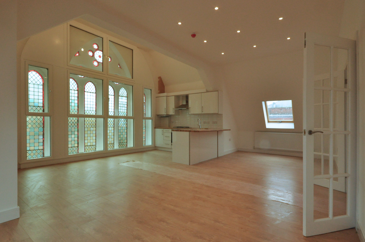 Redundant Church Conversion, top floor flat.   Design:  Nick Baldry